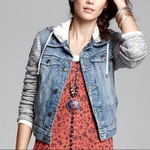 Free People, denim jacket hoodie, size S